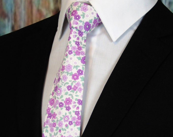 Floral Purple Neck Tie – Mens Necktie with Floral, Available as a Extra Long Tie and a Skinny Tie.