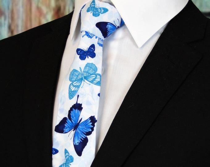 Butterfly Tie – Mens White Butterflies Necktie