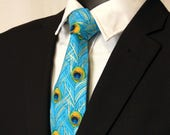 Peacock Wedding – Blue Peacock Tie for Men, Also Available as a Skinny Tie.