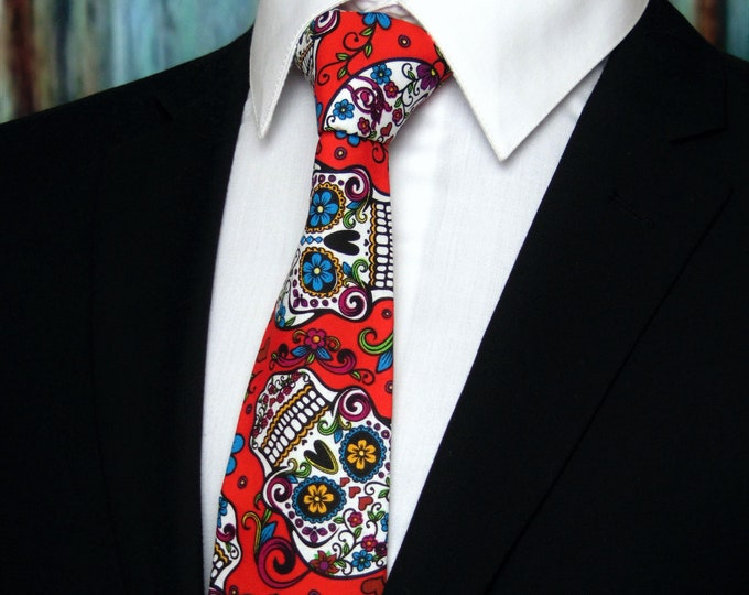 Sugar Skull Neck Tie –  Cinco De Mayo Neck Tie – Mens Neck Tie / Colorful Candy or Sugar Skull Tie Great for Halloween