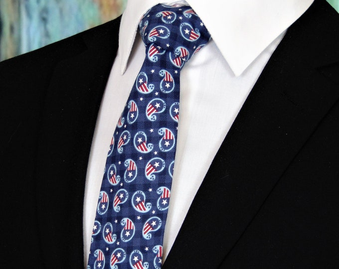 4th of July Ties – Mens Red White and Blue Paisley Independence Day Tie.