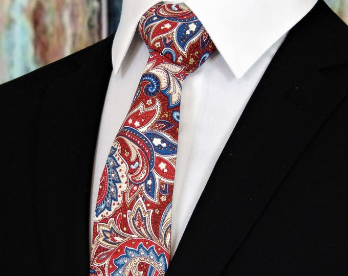 Red White and Blue Tie – Fourth of July Tie, Mens Paisley Independence day Tie. Available as a Skinny Tie and a Extra Long Tie.