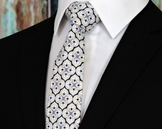 Grooms Tie – White, Black and Gold Wedding Necktie, Available as a Skinny Tie and a Extra Long Tie.