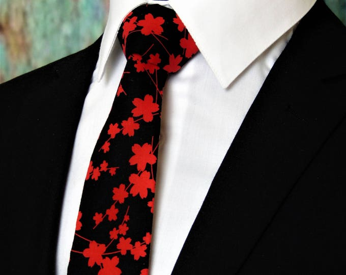 Black and Red Floral Tie – Mens Blossom Necktie, Alos Available as a Skinny Tie.