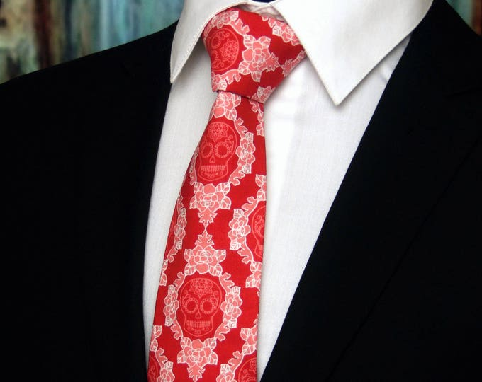 Red Skull Necktie – Red Necktie – Mens Tie, Red and Pink Halloween Skull Neck Tie, Also Available as a Skinny Tie.