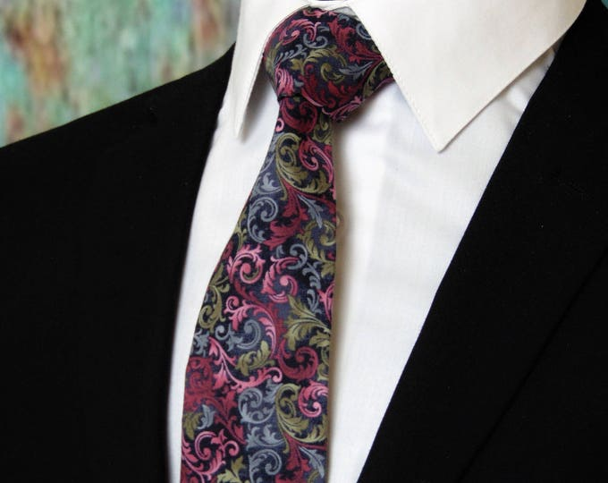 Floral Necktie – Mens Colorful Floral Tie, Also available as a Skinny Tie.