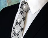 Skull Necktie, Skull Tie, Mens Necktie, Mens Tie, Grey Tie, Gray, Black Tie, White Tie, Halloween Tie, Fathers Day, Birthday, Gift, Wedding