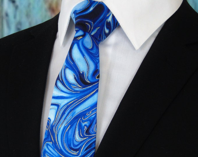 Ties for Men – Mens Blue and Gold Necktie, Available as a Skinny Tie and a Extra Long Tie