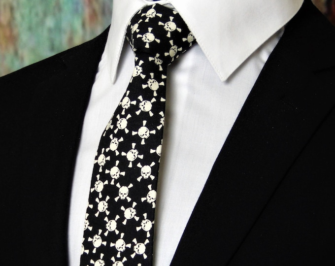 Gothic Necktie – Skull Glow in the Dark Necktie, Also available as a Skinny Tie.
