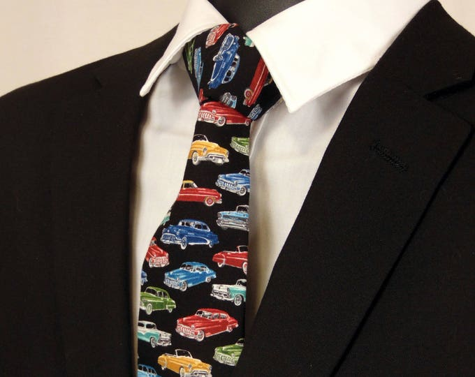 "Boys Neckties – Child's Automotive Necktie Black with Multi Colored Cars. (2.5"" x 48"")"