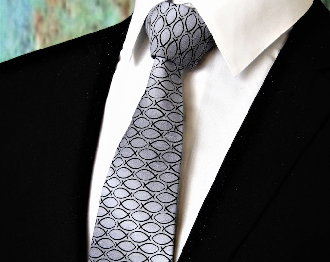 Christian Fish Tie – Mens or Boys Jesus Fish Necktie. Also available as a Skinny Tie.