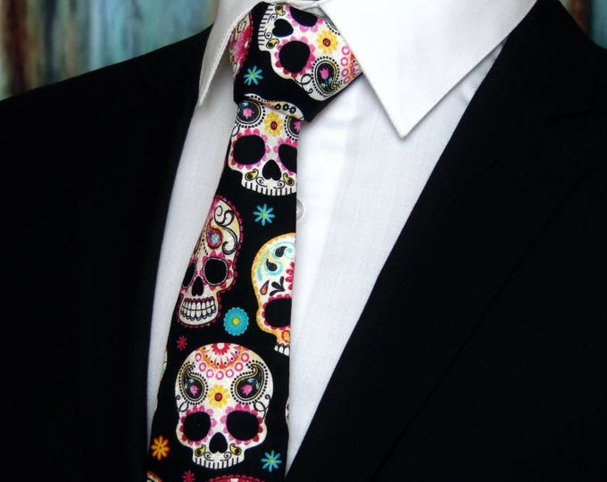 Sugar Skull Tie – Colorful Cotton Sugar Skull Mens Necktie, Great Halloween Tie!