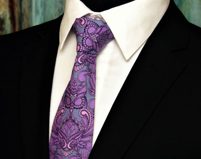 Purple Paisley Tie – Cotton Owl Neck Tie for Men in Purple and Grey Paisley Motif