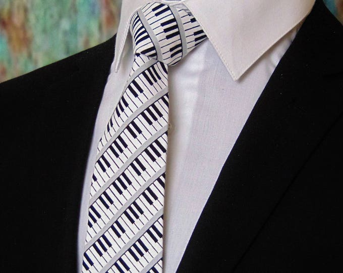 Piano Key Necktie – Mens Piano Key Music Tie, Also Available as a Skinny Tie.