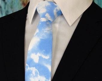 Cloud Tie – Mens Cloud Necktie, Blue and White Weather Tie for Men