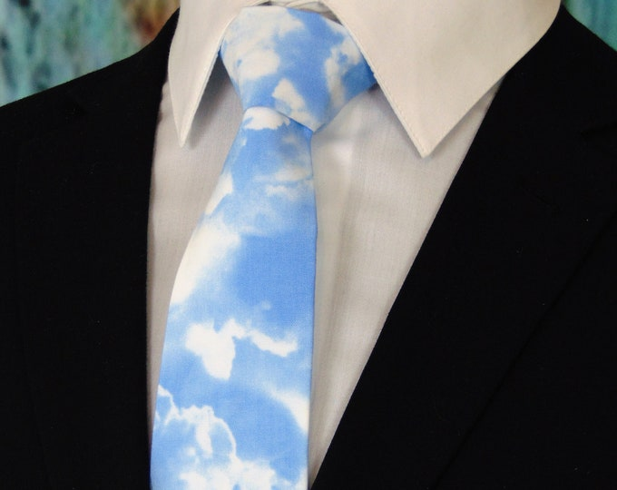 Cloud Tie – Mens Cloud Necktie, Blue and White Weather Tie for Men