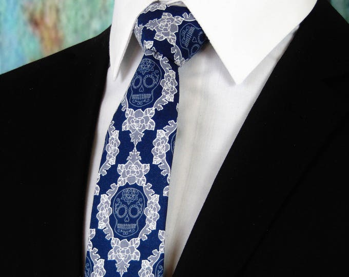 Goth Ties – Navy Blue Sugar Skull Necktie, Available as a Skinny Tie & Extra long Tie.