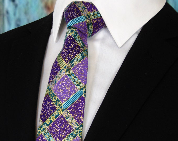 Purple Ties – Mens Purple and Gold Necktie, Available as a Skinny Tie and a Extra Long Tie