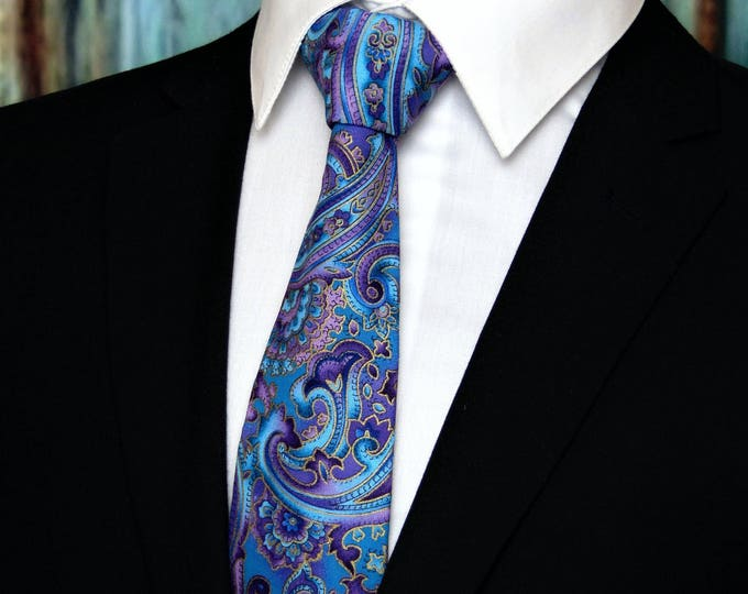 Paisley Neck Tie – Cotton Purple Paisley Tie with Floral Necktie Motif also makes a Beautiful Wedding Necktie, Standard or Skinny Tie