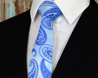 Blue Paisley Necktie – Mens Blue on Blue Paisley Tie. Available as a Skinny Tie and a Extra Long Tie.