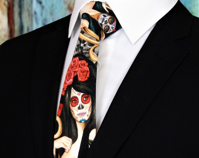 Dia de los Muertos Ties – Mens Sugar Skull Inspired Tie, Also Available as a Extra Long Tie.
