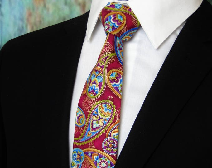Gift for Men – Colorful Mens or Boys Paisley Necktie. Also Available as a Skinny Tie