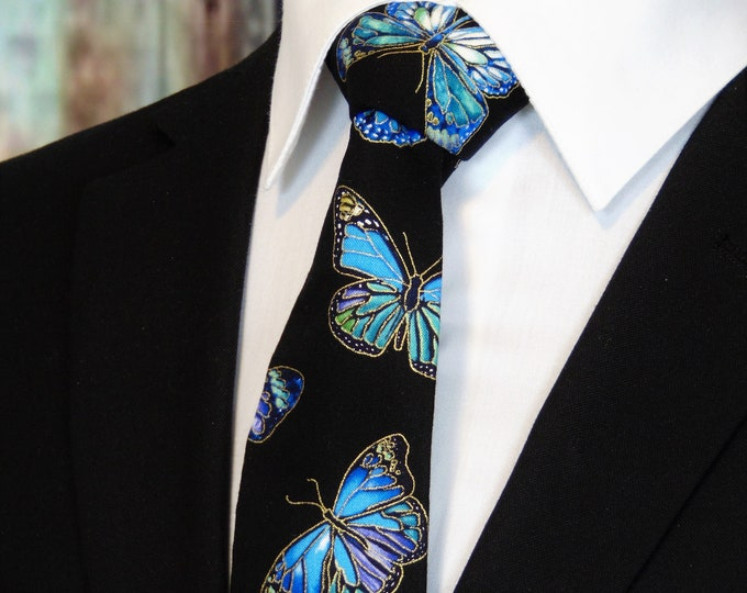Butterfly Necktie – Mens Black with Blue Butterfly Tie
