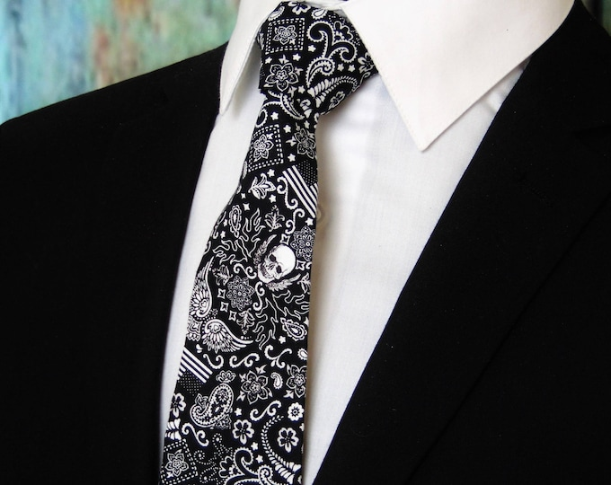 Skull Tie for Men – Mens Black Skull Necktie also Available as a Skinny Tie.