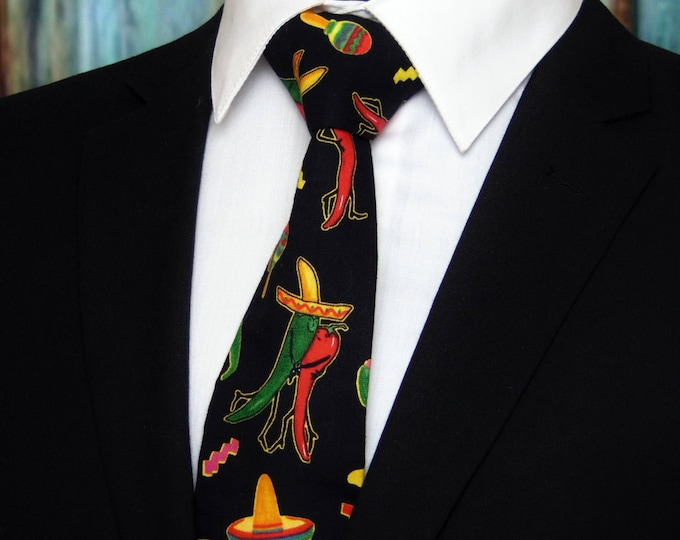 Cinco Demayo Necktie – Hot Pepper Tie, Black with Dancing Peppers and Sombrero, also Available as a Extra Long Tie