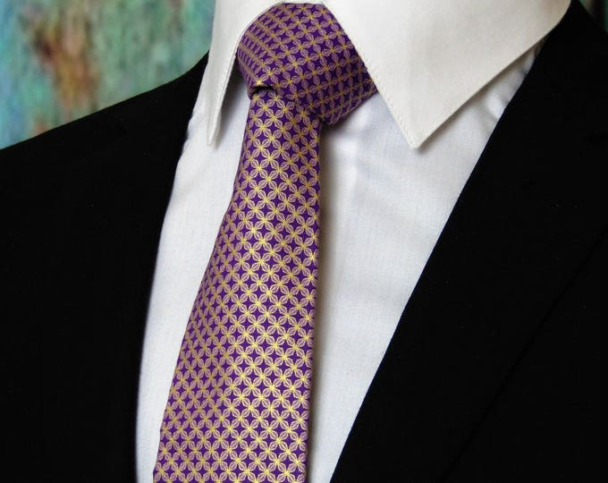 Mens Neckties – Mens Purple and Gold Metallic Neck Tie, Also Available as a Skinny Tie.