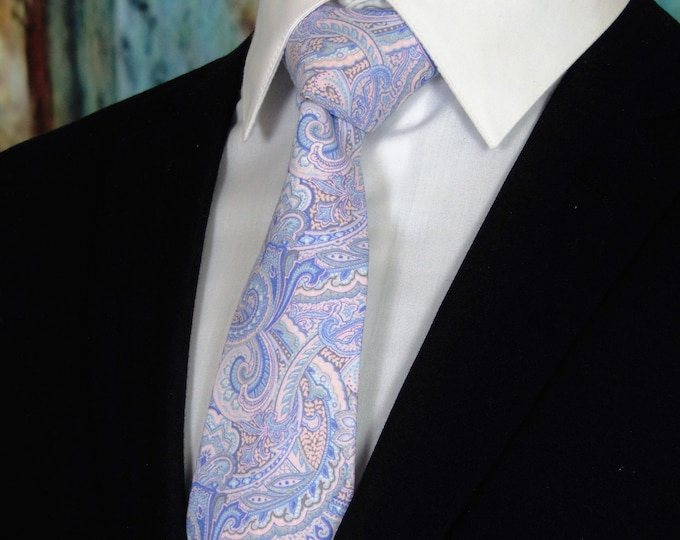 Pastel Ties – Mens Paisley Necktie, Pastel Paisley Wedding Tie, Available as a Skinny Tie and a Extra Long Tie.