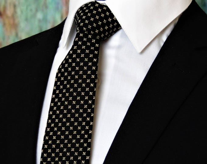 Mens Tie – Mens Black and Tan Necktie, Also Available as a Skinny Tie.