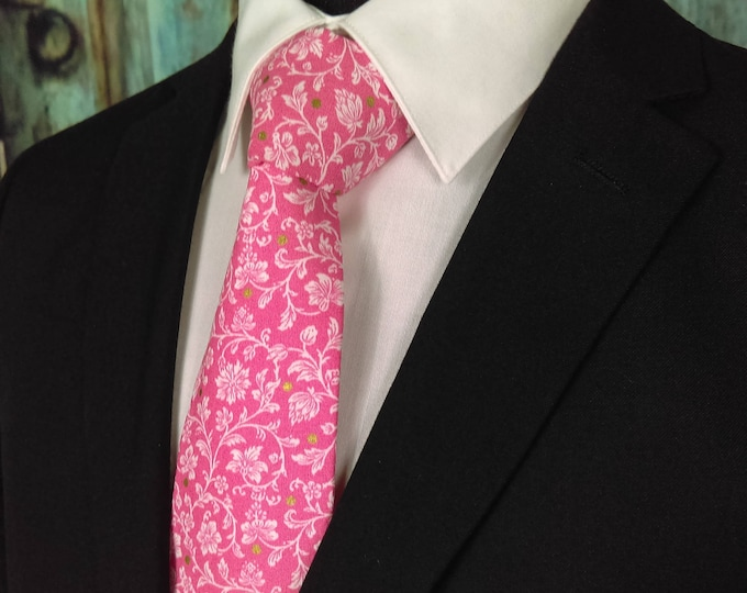 Floral Ties Pink – Pink Necktie / Pink Grooms Neck Tie for Men or Boys also available as a Skinny Tie.