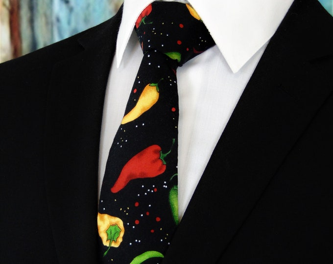 Pepper Necktie – Cinco De Mayo Ties, Mens Mexican Cinco de Mayo Necktie, Available as a Skinny Tie and a Extra Long Tie