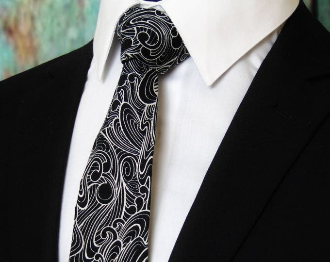 Black Ties – Black and White Tie, Also Available as a Skinny Tie.