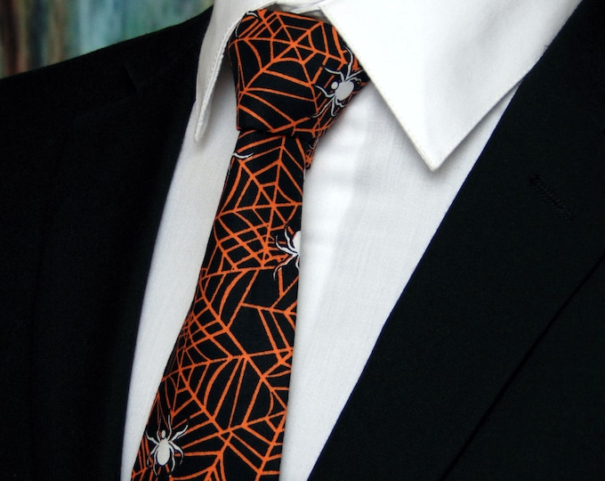 Halloween Necktie, Halloween Tie, Spider Web Necktie, Spider Web Tie, Mens Necktie, Mens Tie, Black, Orange, White, Goth, Gothic, Dad, Gift