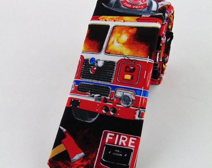 "Boys Ties – Childs Fire Truck Neck tie 2.5"" x 48"""