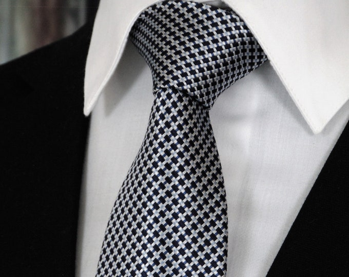 Black and Silver Ties – Mens Black and Silver Silk Necktie