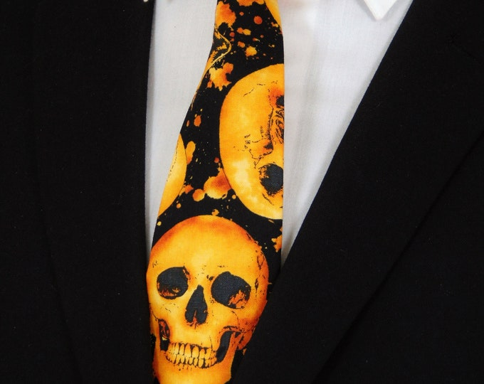 Gothic Neck Tie – Mens Black with Orange Skull Tie.