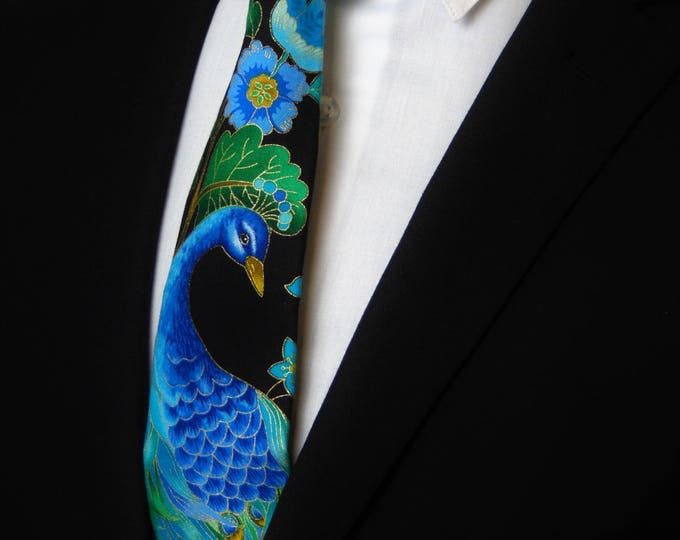 Peacock Necktie – Mens Floral Tie / Peacock with colorful Floral Motif, Alos Makes a Great Wedding Tie.
