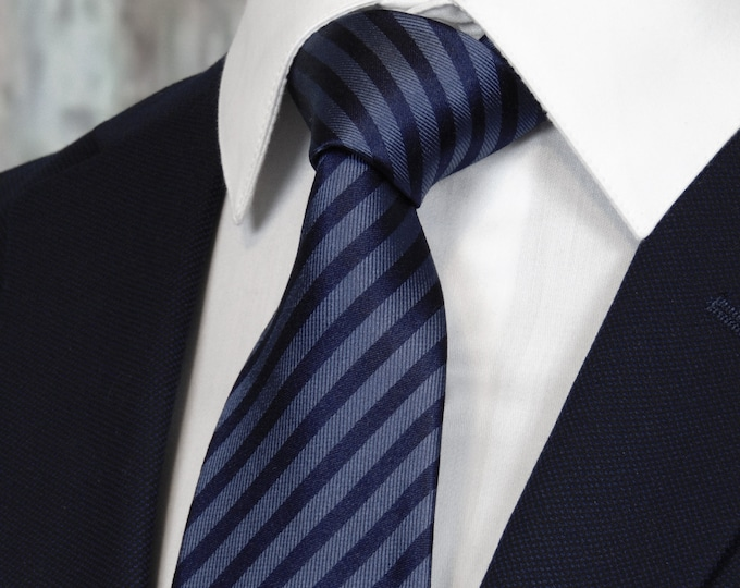 Striped Tie – Mens Navy and Blue Silk Striped Necktie.