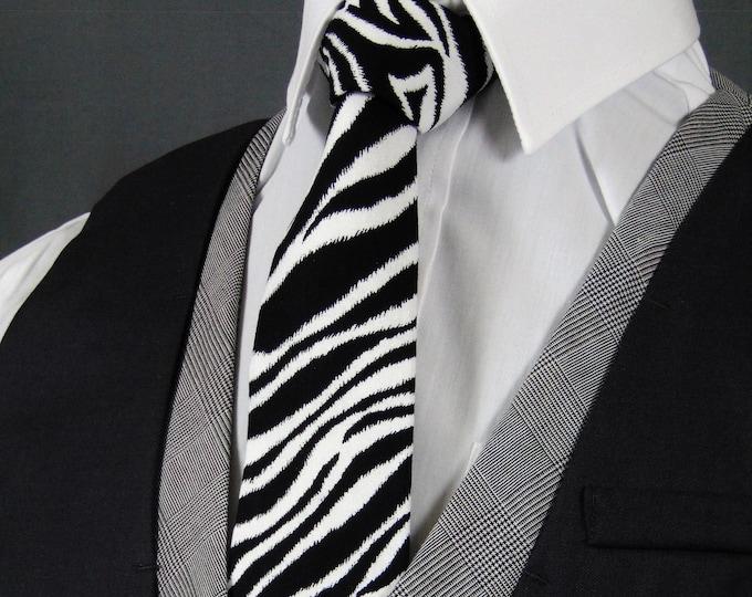 Zebra Print Tie – Black and White Zebra Necktie