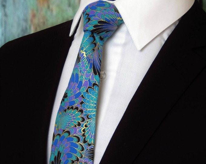 Peacock – Colorful Peacock Feathers Motif Tie, Great Wedding Tie and Gift for Father of the Bride, Available Skinny Tie