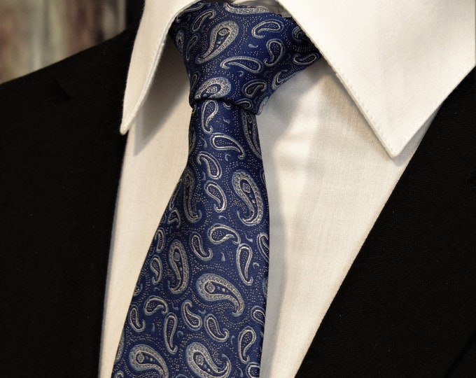 Blue Paisley Tie – Mens Paisley Silk Necktie