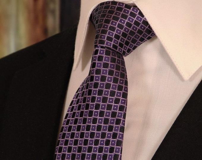 Purple and Black Tie – Mens Black and Purple Necktie for Purple and Black Wedding.