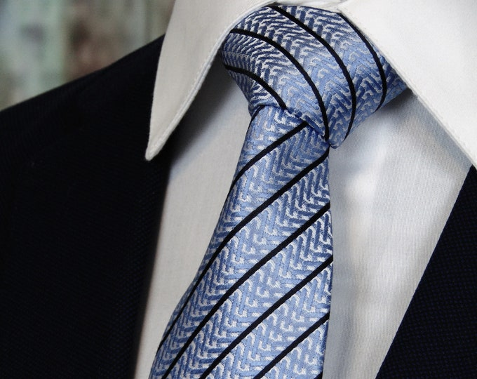 Light Blue Tie – Mens Light Blue with Black Stripe Silk Necktie