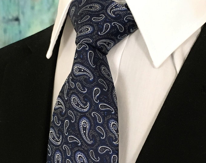 Blue Tie Paisley – Silk Paisley Necktie Navy Blue