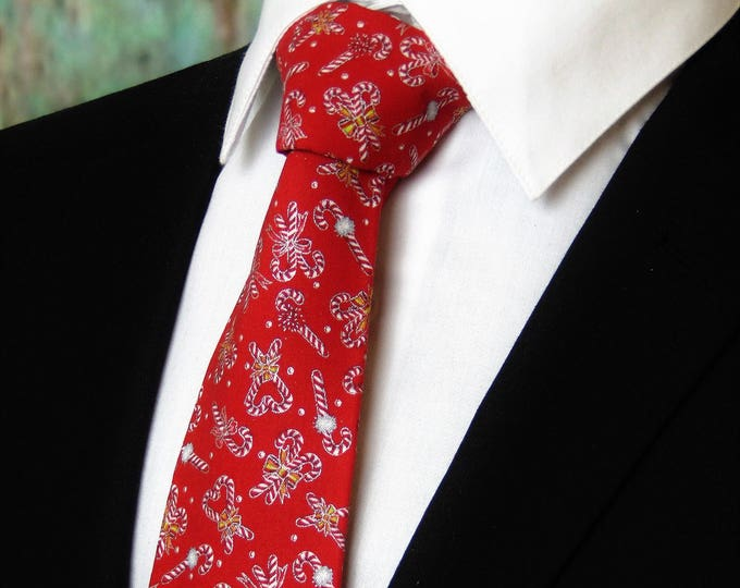 Red Tie – Mens or Boys Christmas Candy Cane Neck Tie alos Available as a Skinny Tie.