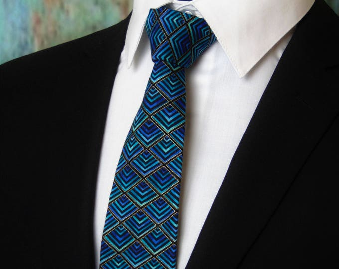 Mens Neck Ties Patterned – Groom Necktie / Mens Geometric Tie also Available as a Skinny Tie.