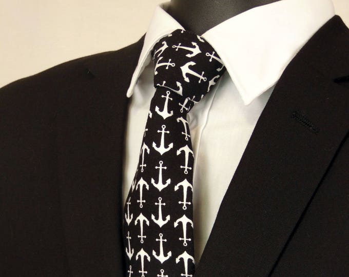 Mens Necktie, Mens Tie, Black Necktie, Black Tie, White Necktie, Anchor Tie, Wedding, Fathers Day, Birthday, Gift, Christmas, Dad, Skinny